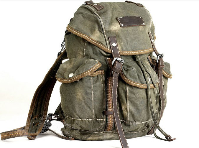 mens vintage canvas hiking travel military backpacks