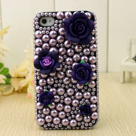 Purple Pearl IPhone 4 Case For Girl Bling 3d Floral Iphone